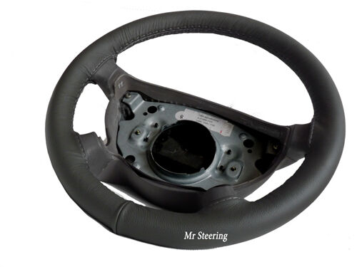 FITS MINI COOPER R50 2001-2006 REAL DARK GREY LEATHER STEERING WHEEL COVER NEW
