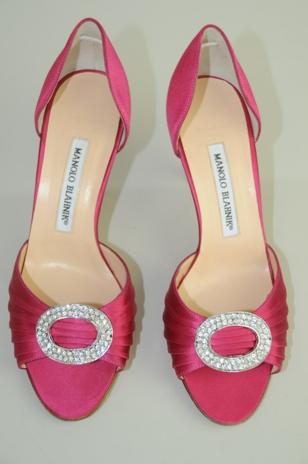 755 New MANOLO BLAHNIK SEDARABY 70 Pink Satin Silver Jeweled SHOES Heels 36.5