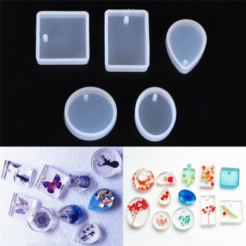 5x DIY Silicone Mould Set Craft Mold For Resin Necklace jewelry Pendant Makin YE
