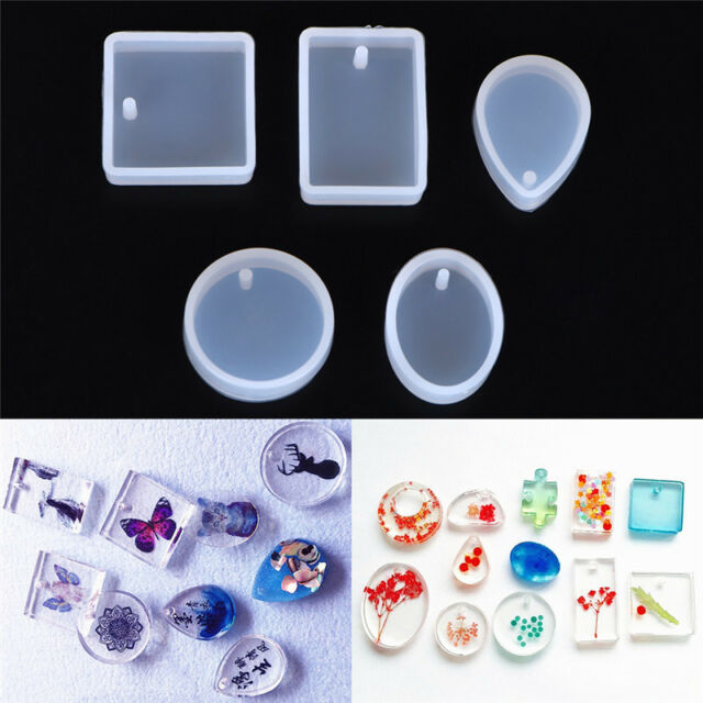 5pcs Silicone Mould Set Craft Mold For Resin Necklace jewelry Pendant Making MEC