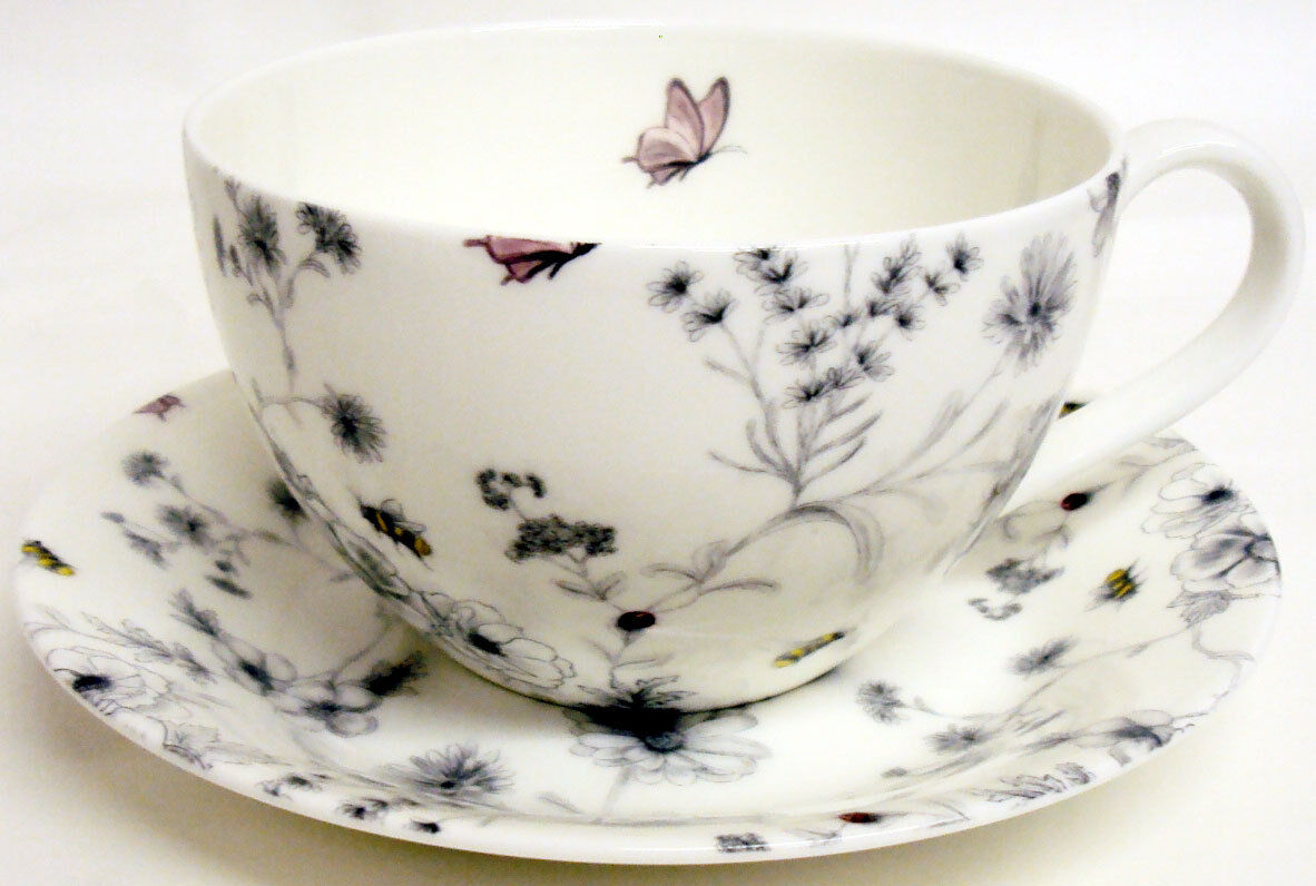 Secret Garden Breakfast Cup & Saucer Bone China Floral Garden Cappuccino Latte