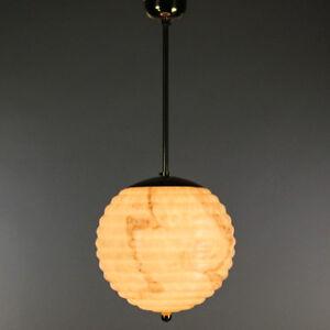 alte-Stab-Pendel-Kugel-Lampe-Marmor-Glas-Leuchte-vintag-Art-Deco-Pistazie-Braun