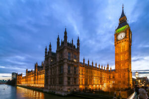 Big-Ben-Houses-of-Parliament-London-England-Illuminated-Photo-A-Poster-18x12