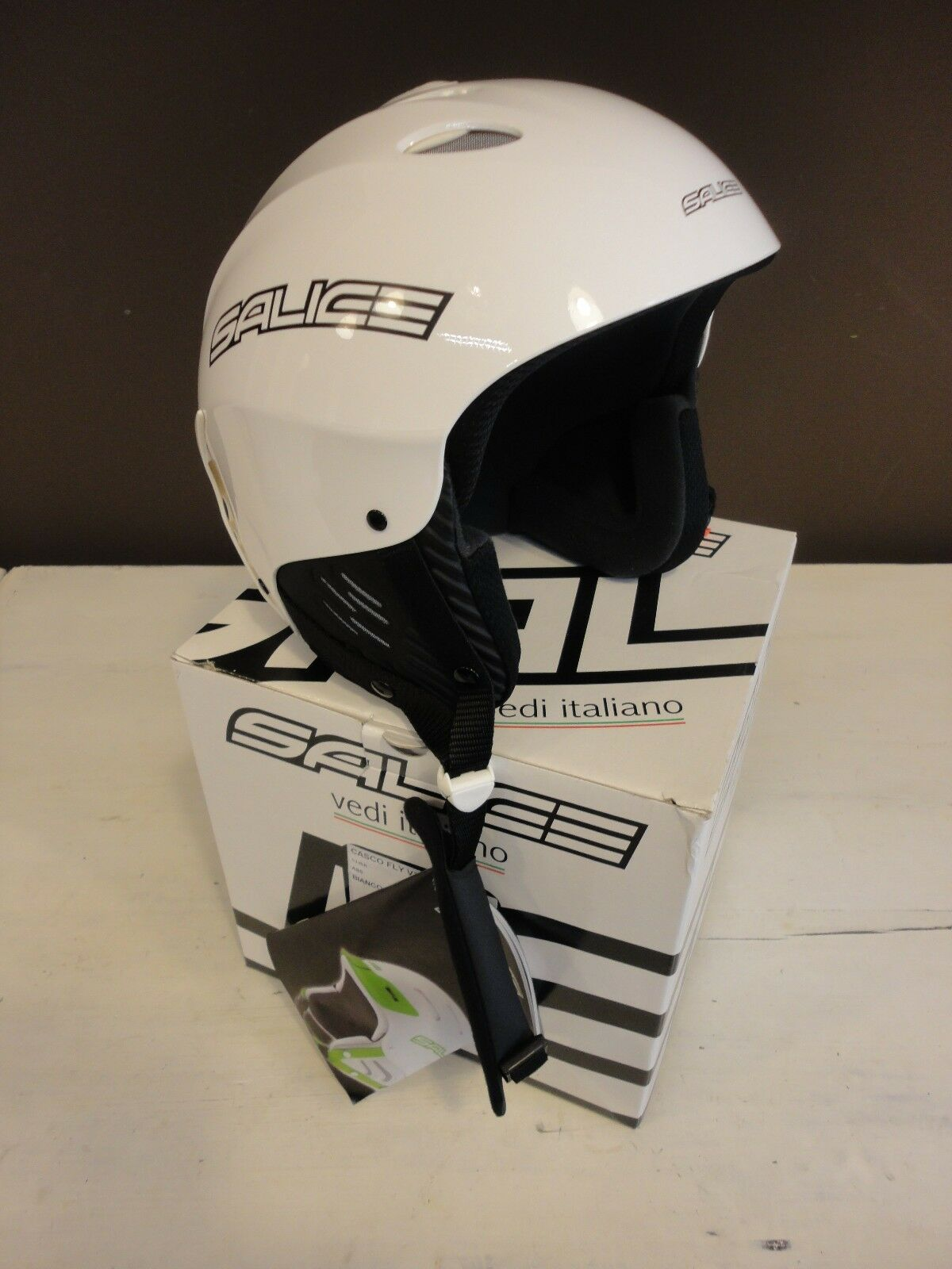 Salice Casco Fly candy white shiny ski snowboard helmet L NEW