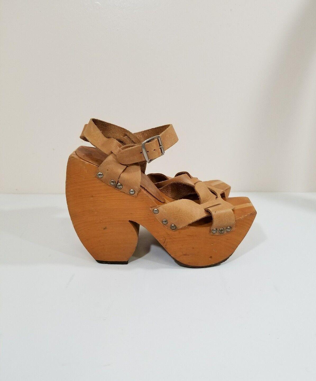 Vintage sabots por Kimel Raro Esculpido Madera Sandalias De Plataforma Cuero Tostado Usado En Excelente Condición