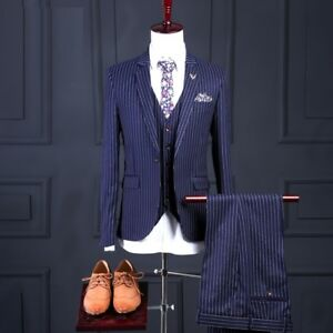 Hommes-Costume-Veste-De-Sport-Jacket-jacket-gilet-pantalon-slim-fit-Ceremonie-de-Mariage-Business