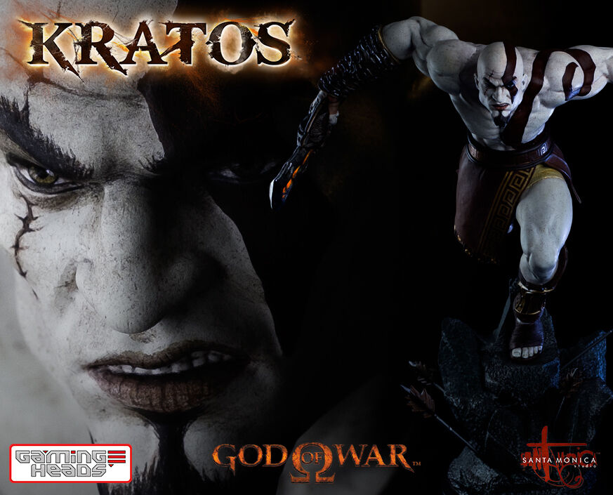 GAMING HEADS GOD OF WAR ASCENSION LUNGING KRATOS 14 POLYSTONE STATUE 49 CM