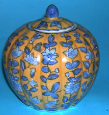 VINTAGE Ceramica Cinese-Attraente dipinti a mano a forma di zucca ginger jar.