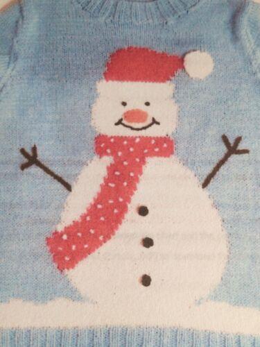 Navidad Muñeco De Nieve /& Robin Grande Adulto Jumper Tejer patrón