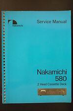 NAKAMICHI 580 Original Cassette Deck Service-Manual/Anleitung/Schaltplan/Diagram