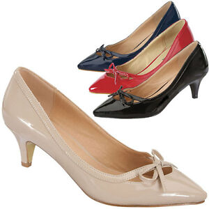 b298dad21c3ba Women Bowknot Pointy Closed Toe Kitten Low Heel Classic Slip On Pump ...