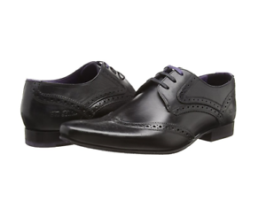 99fb851ca628ea Ted Baker Mens Hann 2 Derby Brogue Lace-up Black Leather Shoes UK 12 ...