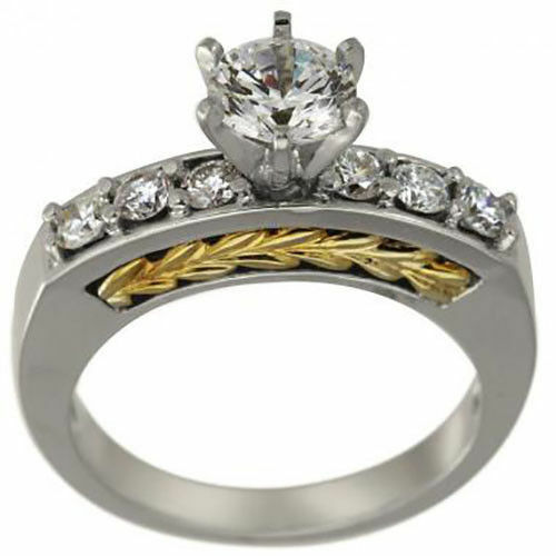 Diamond Engagement Ring SETTING  & 0.45ct Diamond Accents In 14k Two Tone gold