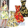 Vintage Floral Lemon 50s 60s Rockabilly Retro PARTY Swing Dress Hepburn Style