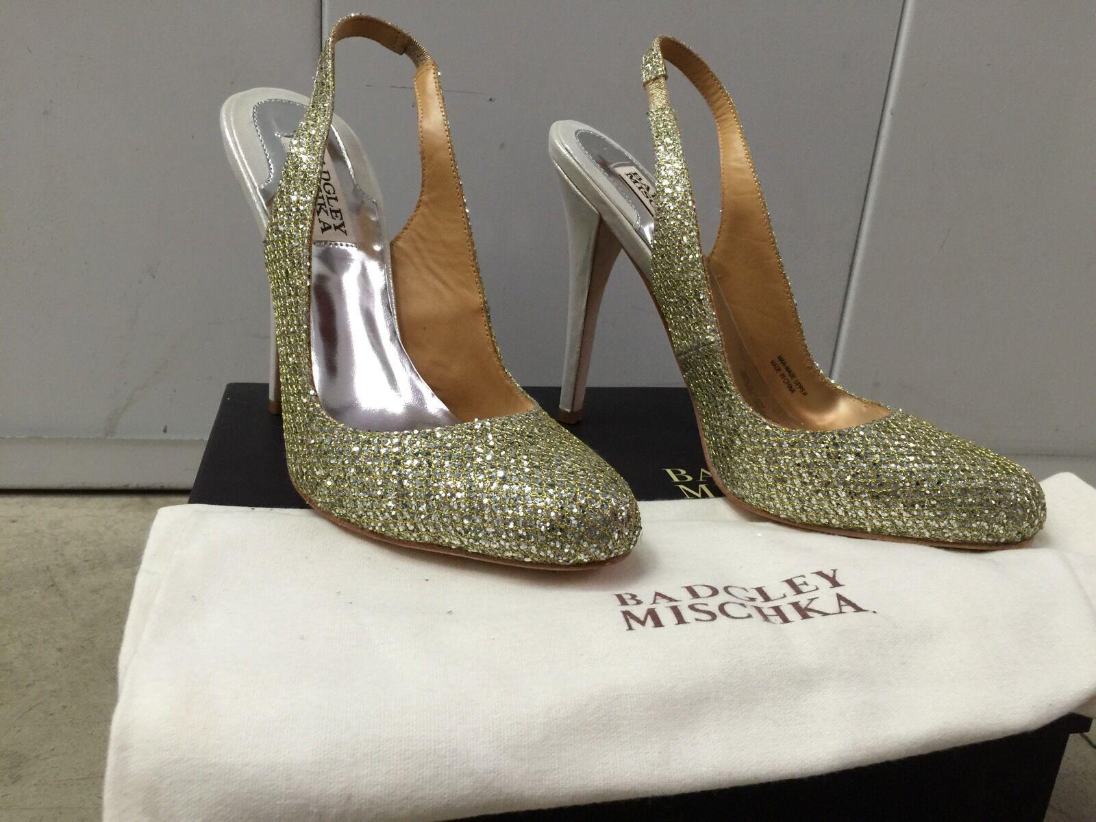 Brand New GLITTER BADGLEY MISCHKA KISS KISS SLINGBACK PUMP GOLD GLITTER New US SIZE 7.0 5c1660