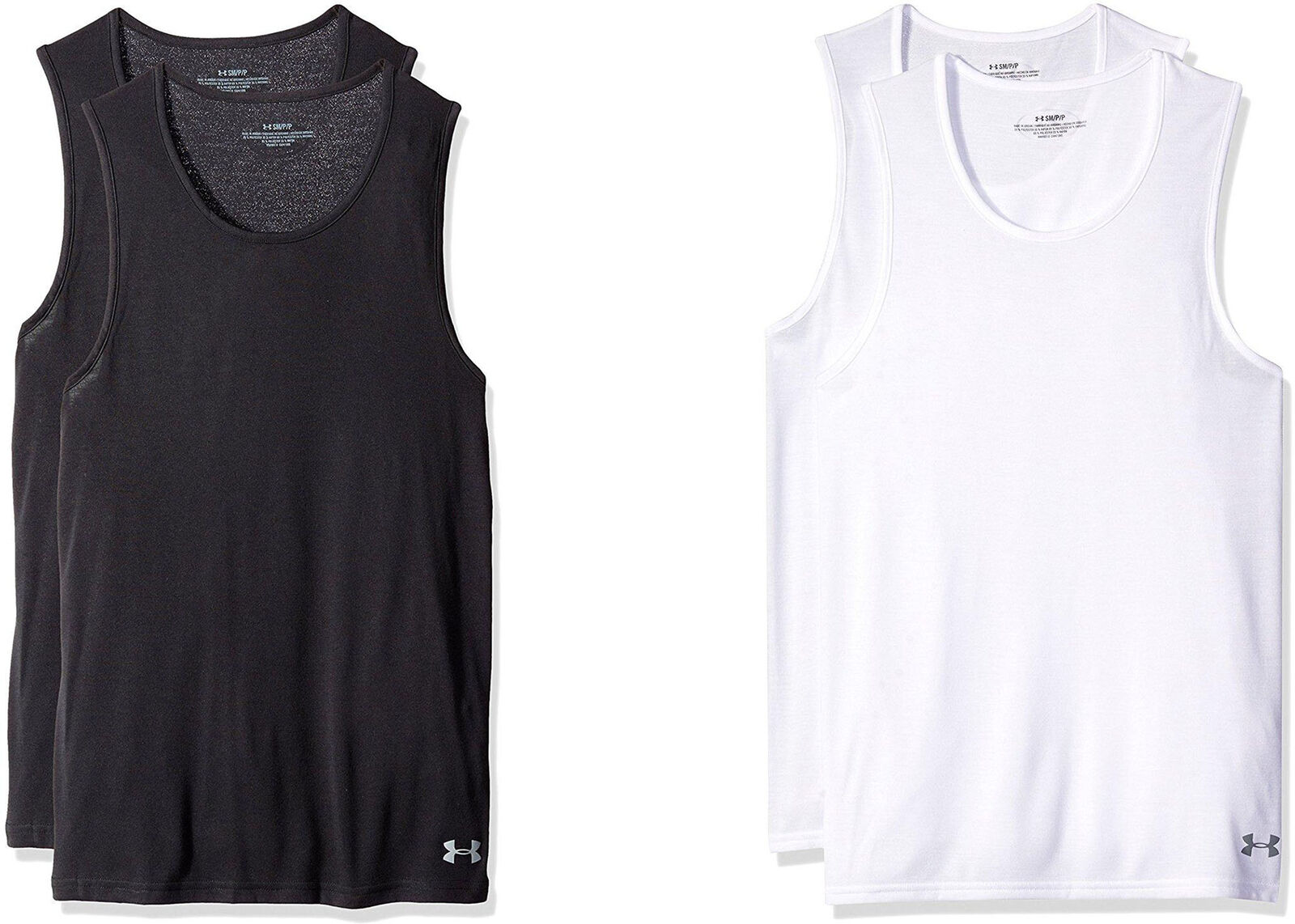 New Men/'s UA Under Armour Core Tank Top 2-Pack Undershirt White MSRP $35