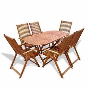 Détails sur vidaXL Mobilier de Jardin 7 pcs avec Table Extensible Bois  Salon de jardin