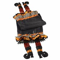 Witch Shoes Gems Black Orange Halloween Witch Table Runner Grasslands Road