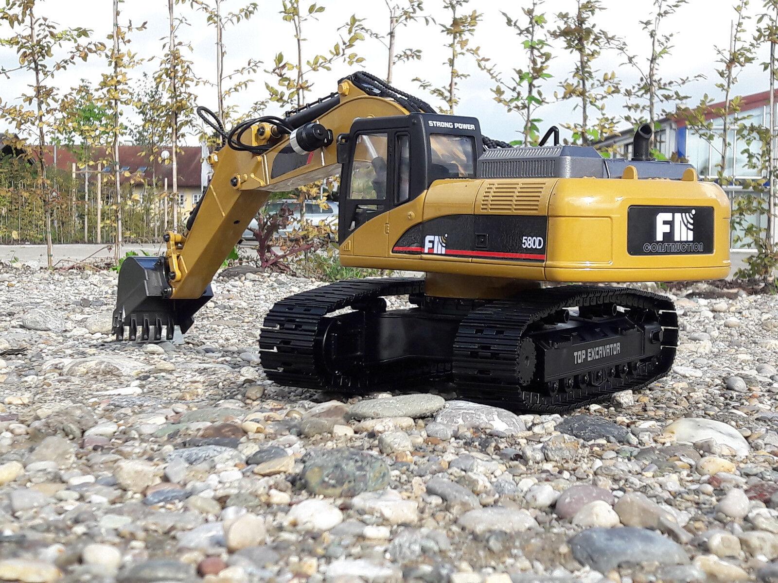 Huina Crawler Excavator 1580 1 14 Rtr V3 Vollmettuttiborsager 2 Batteries