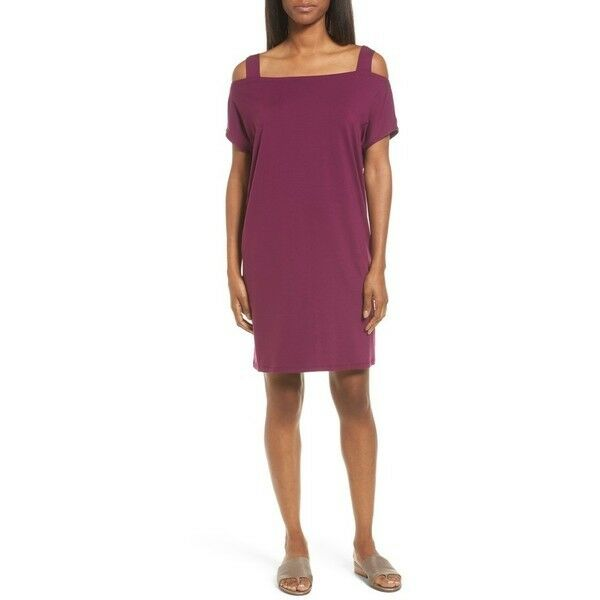 NWT Eileen Fisher Cold Off Shoulder Shift in Boysenberry Tank Strap Dress XS