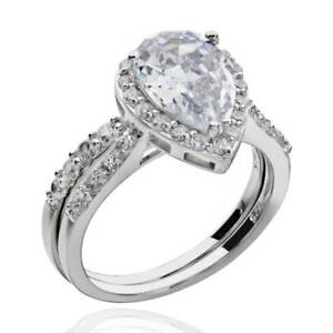 image is loading sterling silver pear shape cubic zirconia engagement wedding - Pear Shaped Wedding Ring Sets