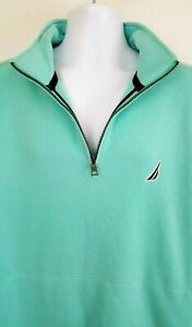 NEW-Nautica-Mens-1-4-Zip-Pullover-Fleece-Jacket-Large-L-Pouch-Pocket-Teal-79-50