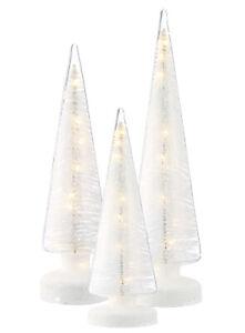 LED-Glas-Baum-Glitter-Klarglas-Baum-weiss-Glitzer-Batteriebetrieb-30-40-45-cm