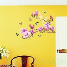HUGE PURPLE MAGNOLIA FLOWER ROOM WALL ART STICKERS HOME DIY DECOR DECORATION