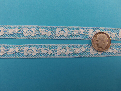 """French Heirloom Cotton Lace Insertion 1//2/"""" White Fashion//Craft//Doll Lace 176//962"""