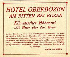Hans Holzner Am Ritten bei Bozen Hotel Oberbozen Historische Reklame von 1909