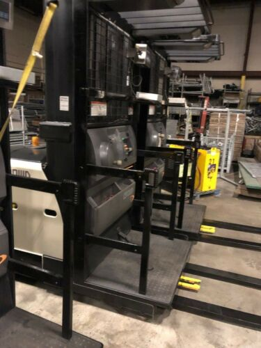 CROWN SP 3500 SERIES ELECTRIC 3 WHEEL ORDER PICKER WITH 2-24VOLTS BATTERIES AND