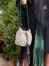 ZARA plata con cuentas Cordón Clutch Bag Bolso de mano bordado