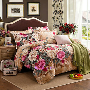 Single/Double/Queen/King Size Bed Quilt/Doona/Duvet Cover Set 100% Cotton Floral