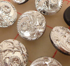 """12 vintage glass shank buttons silver 4 flower design Czech 3/4"""" 18mm #76"""