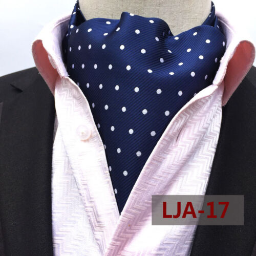 Mens Silk White Navy Blue Polka Dots Necktie Cravat Ascot Pocket Square Set Lot
