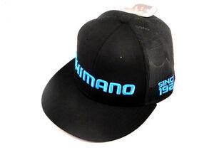 SHIMANO-LOGO-FLATBILL-PROFLEX-Q3-FITTED-HAT-BLACK-MESH-FISHING-MENS-SIZE-MED-LG