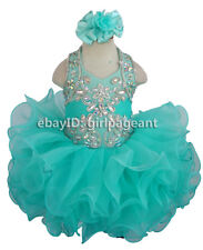 Infant//toddler//baby Blue Gliz Crystals Bows Formal Pageant Dress G066C