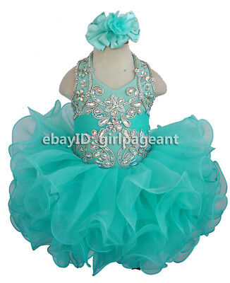 15color available Infant//toddler//baby rhinestone/&Crystals Pageant Dress 153