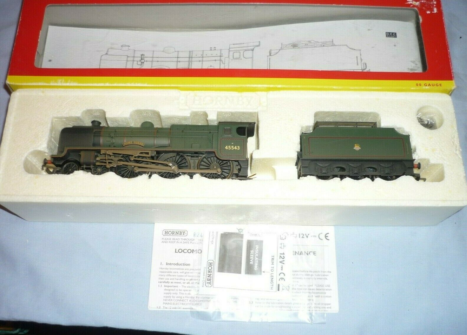Hornby Oo Br Clase Patriot 4-6-0 Tender Loco 45543 Home Guard R2456 DCC Bx
