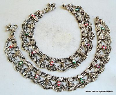 vintage antique ethnic tribal old silver anklet feet bracelet belly dance jewelr