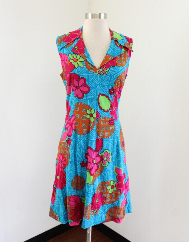 Vintage Luisa Spagnoli bluee Hawaiian Geometric Floral Dress Size S Mod Retro
