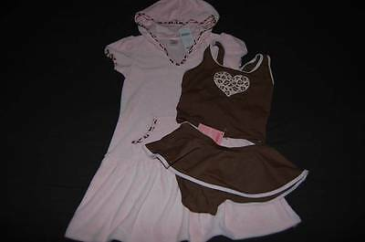 NWT GYMBOREE Kitty Glamour Brown Tankini Swimsuit & Pink Coverup Dress 7 Leopard