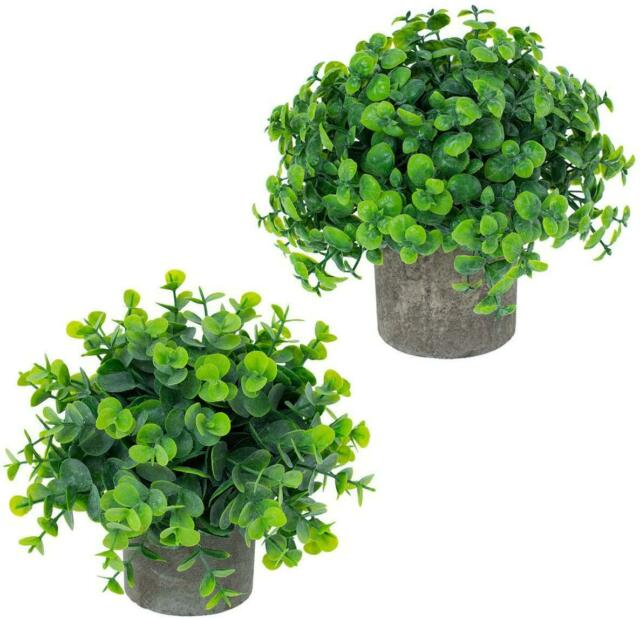 2 Pack Small Artificial Plants In Pots Fake Mini Decorative Potted