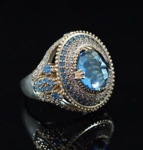 925-Sterling-Silver-Handmade-Gemstone-Turkish-Aqua-Marine-Ladies-Ring-Size-7-9