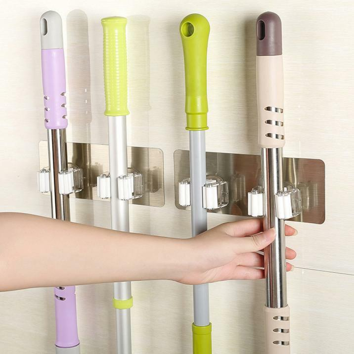 1*Kitchen Mop Broom Holder Wall Mounted Organizer Brush Storage Hanger Rack Tool