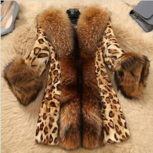 Frakke S Print Parka Leopard Classic Jakke Chic Fur Outwear 6xl Women Lang Faux xzwq01nIP
