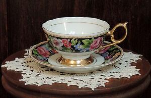 Vintage-Pedestal-Cup-Saucer-Black-Floral-Hand-Painted-Gold-Trim