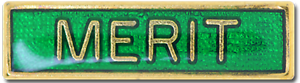 Merit Award Bar Pin Badge in Green Enamel