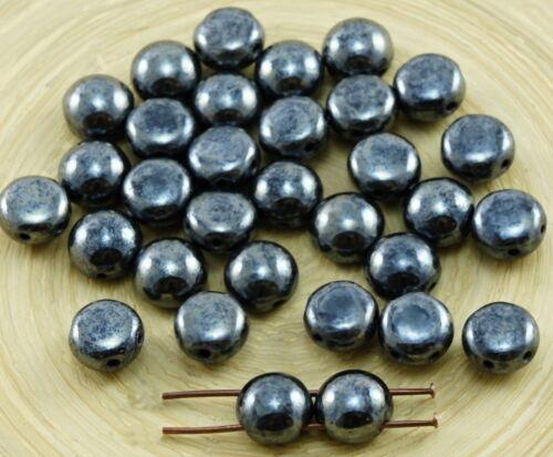 30pcs Candy métallique ronde Bombée 2 deux trous tissage Tchèque Perles De Verre 8 mm