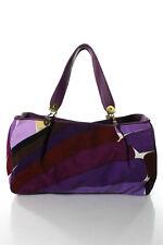 Emilio Pucci Purple Cotton Corduroy Abstract Print Zipper Top Tote Handbag